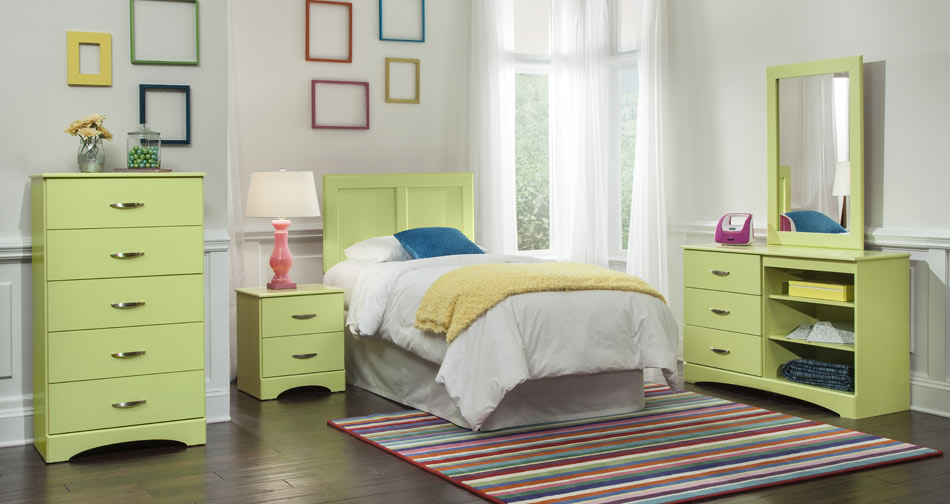 Children 39 s bedroom set blue union furniture company for Lime green bedroom furniture